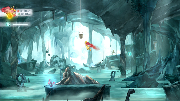 Screenshot of video game Child of Light with main character flying through a blue cave