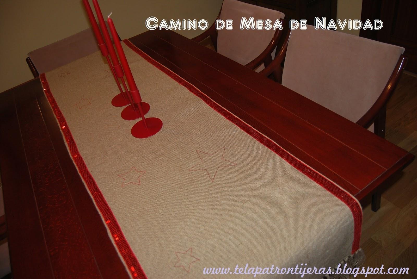 Tela patr n tijeras camino de mesa para navidad un diy for Como hacer caminos de mesa modernos