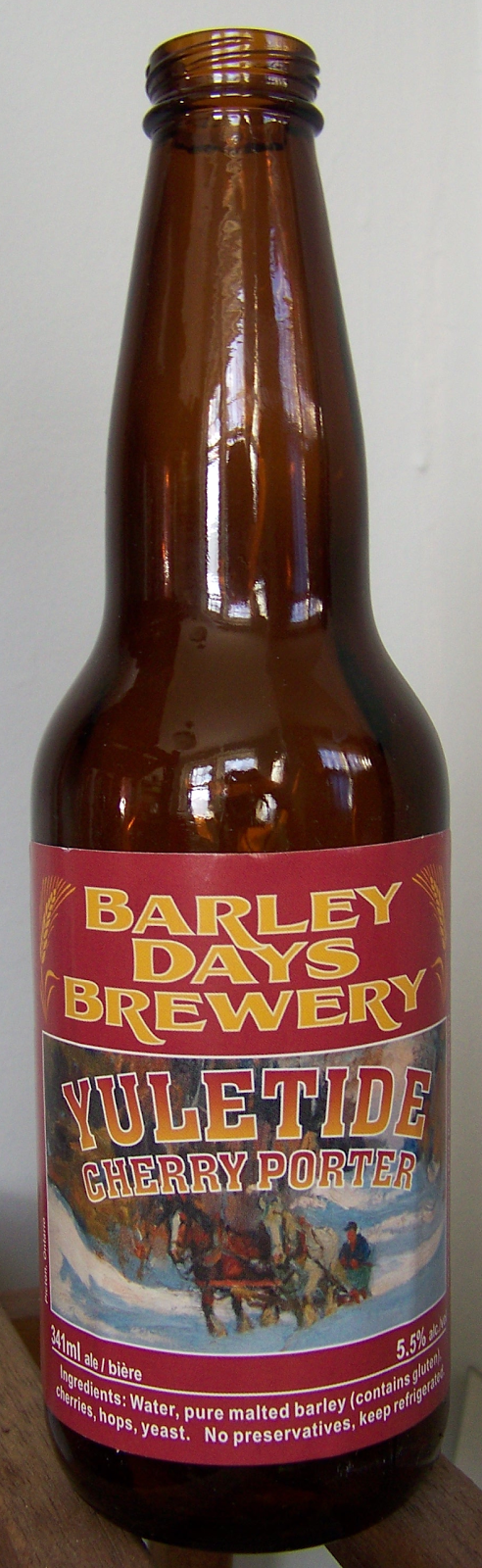 Beer maven yuletide cherry porter barley days canada for Porter canada