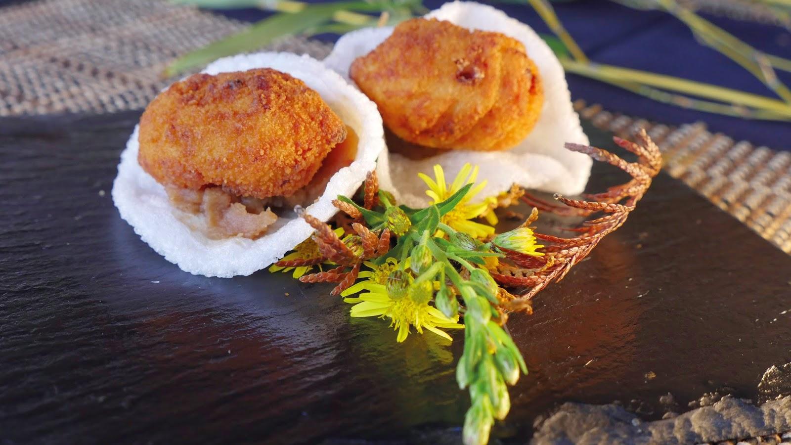 Korokke shiitake con prebe de castañas. Termas Outariz, Sabores de Ourense