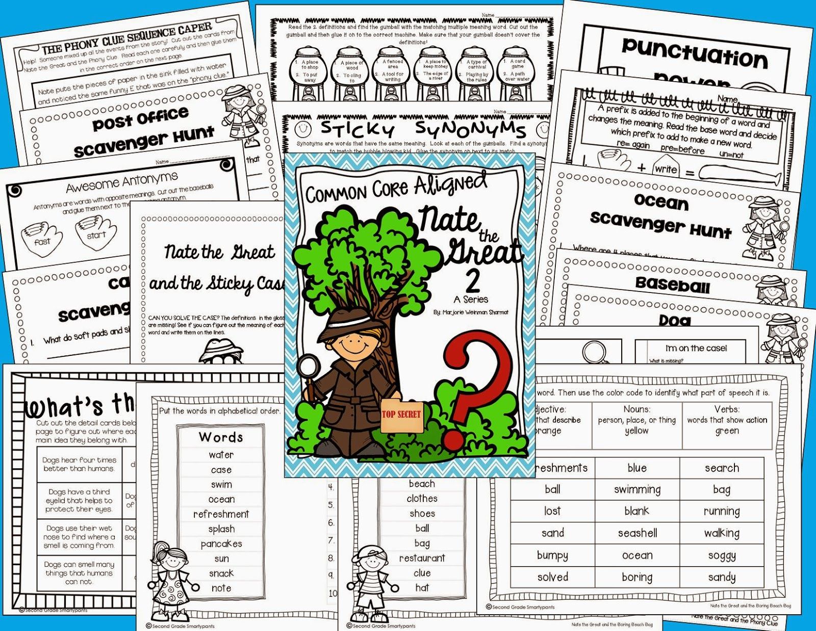 http://www.teacherspayteachers.com/Product/Nate-the-Great-2-Series-Activities-1180713