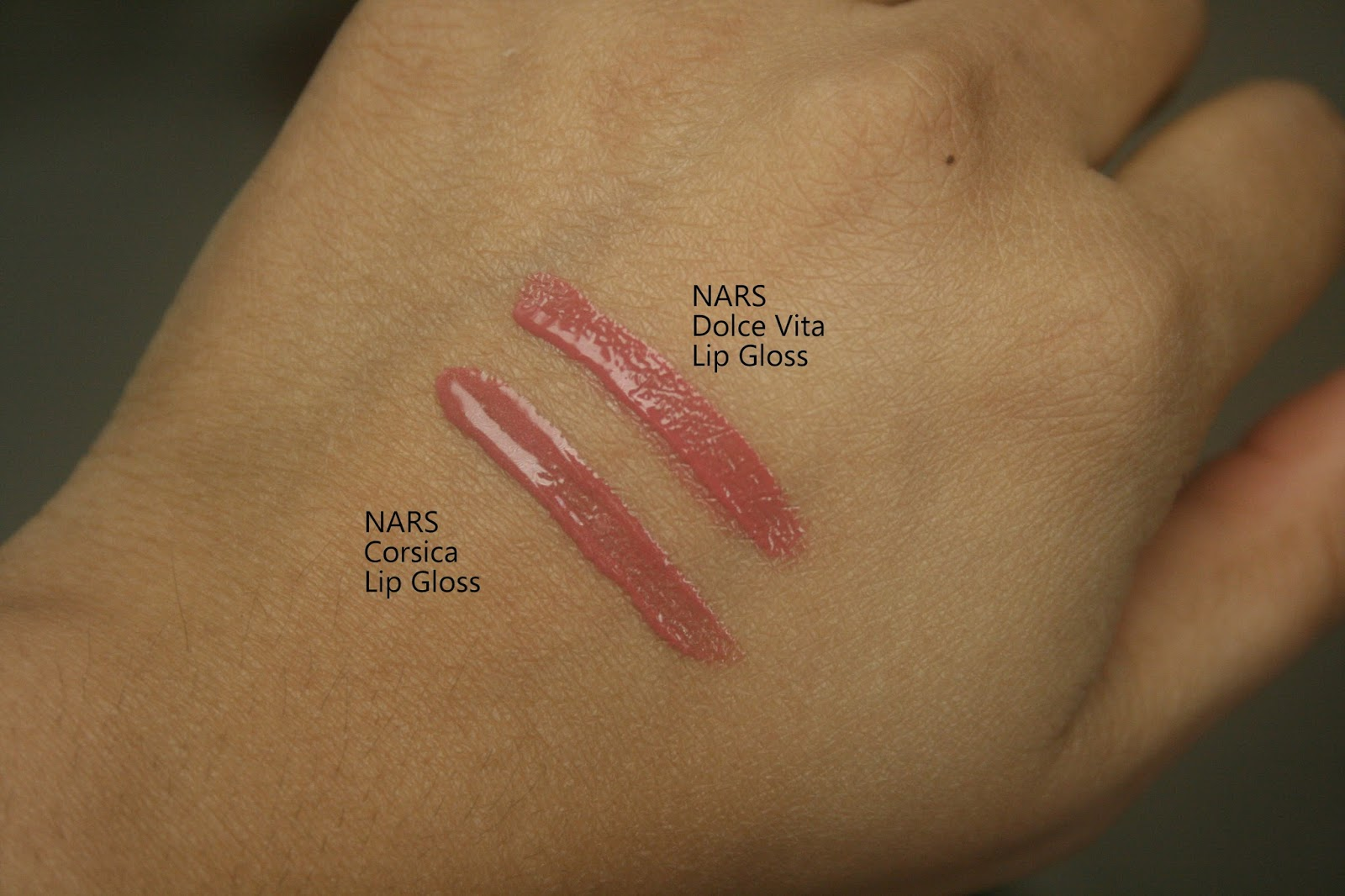 NARS Laced with Edge Holiday Collection Corsica Lip Gloss vs Dolce Vita Lip Gloss Swatch Comparison