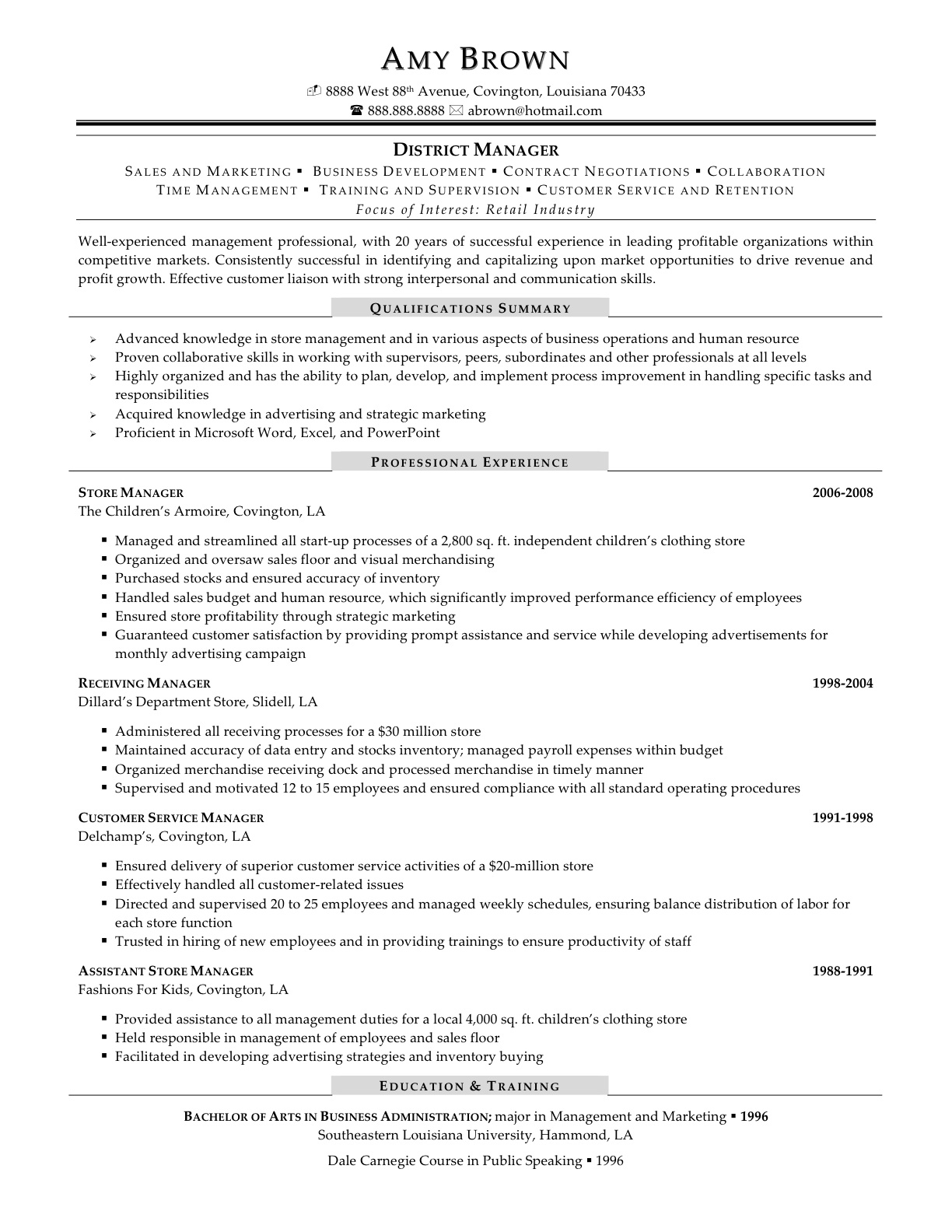 retail manager resume good examples - Retail Management Resume Examples