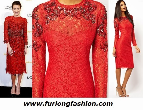 Asos Red Lace Dress Dolce and Gabanna