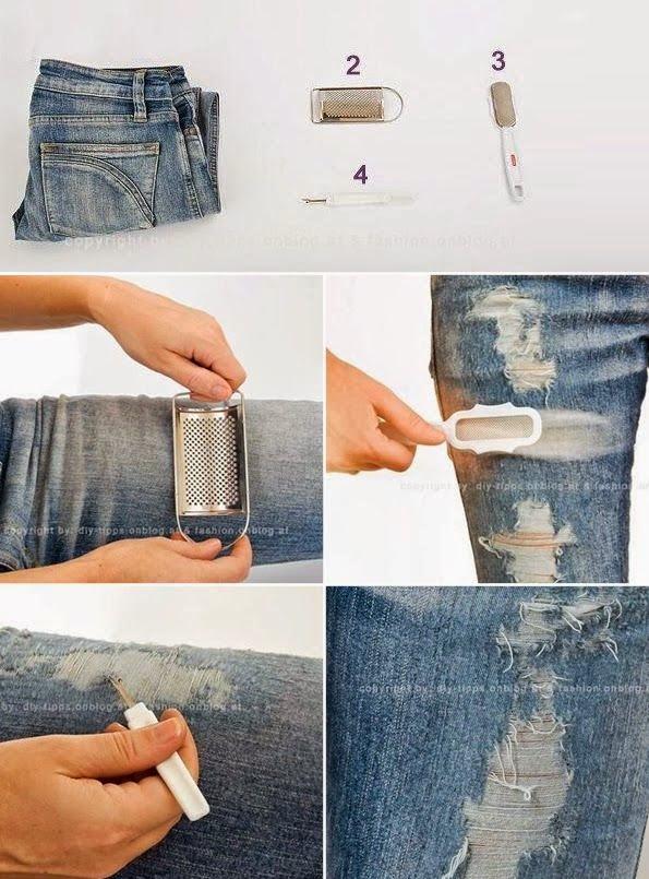 Как сделать потертыми джинсы