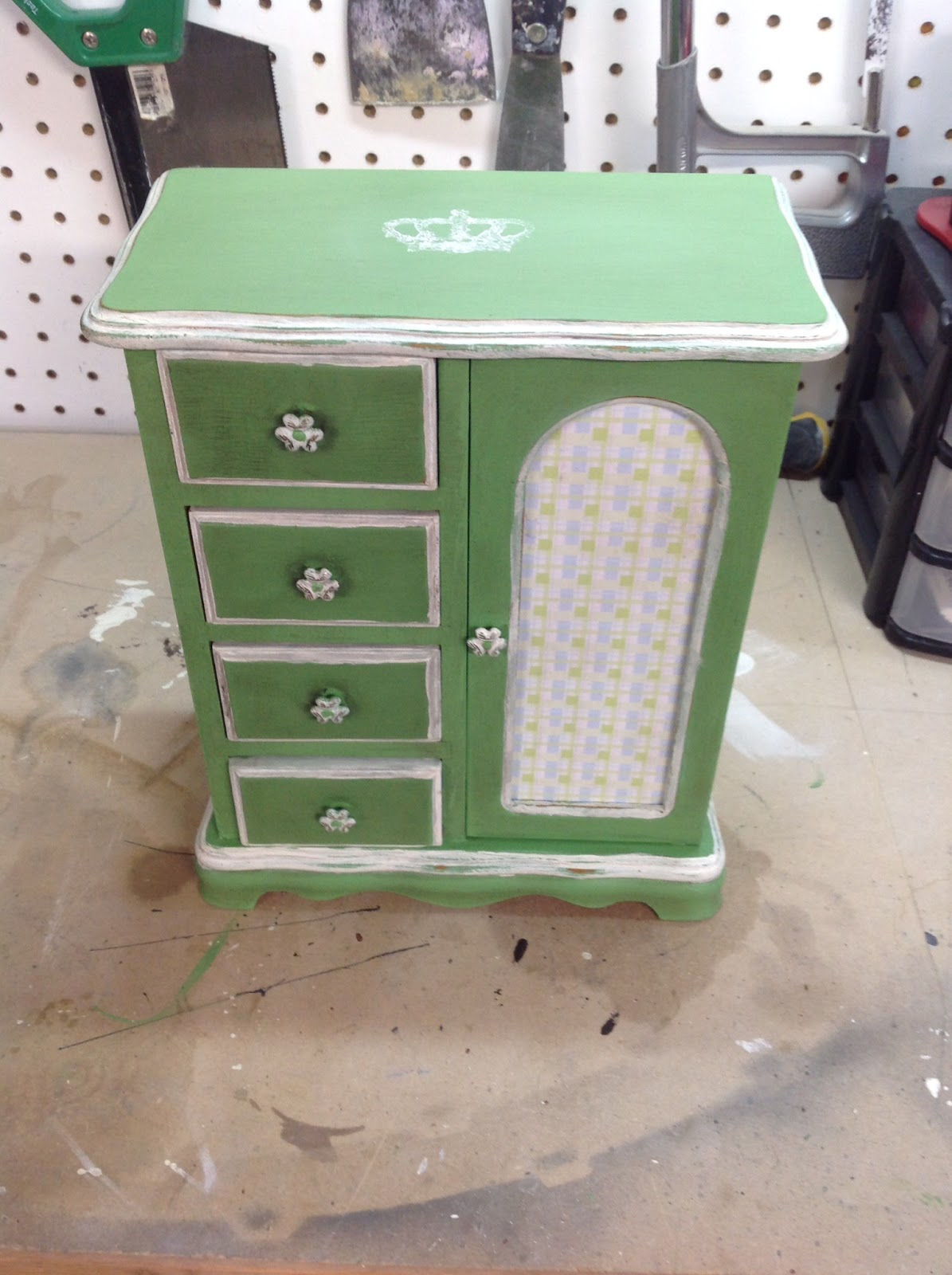 4 drawer with brass turnstile Jewelry Box Makeover After