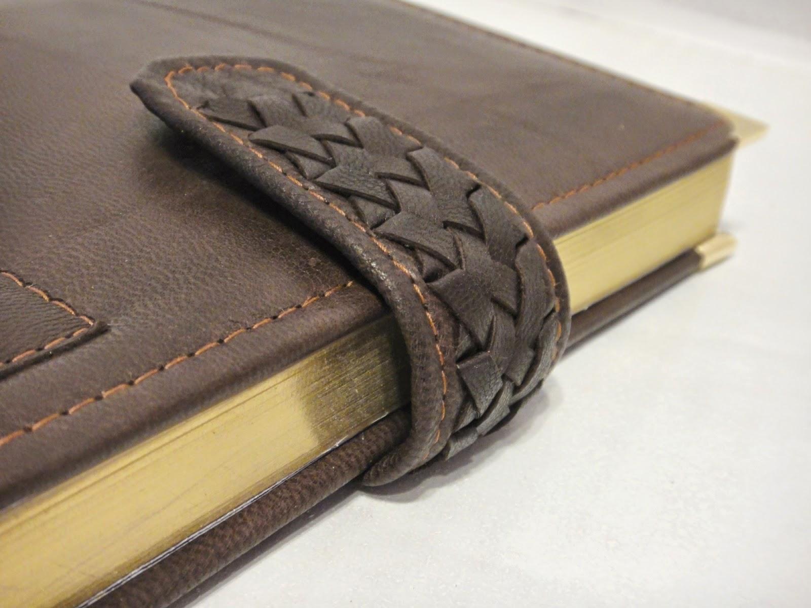 Ежедневник из кожи, коричневый: золотой обрез, тонированные страницы, плетение
