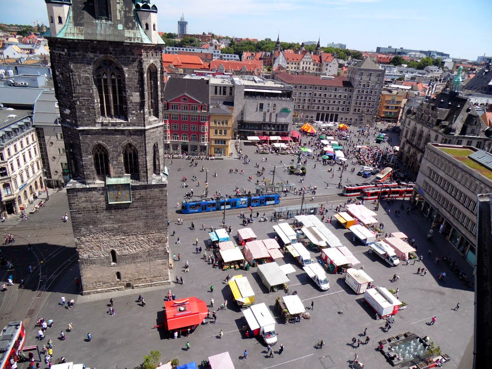 Looking down on the Marktplatz from the bridge connecting the twin towers, Halle