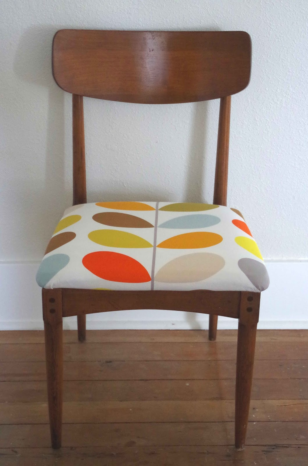 Great Patina After Being Re Stained, Very Uneven Finish Adds A Good  Texture. The Chair Has No Marking And Has Been Covered In Orla Kiely Fabric  From The UK.
