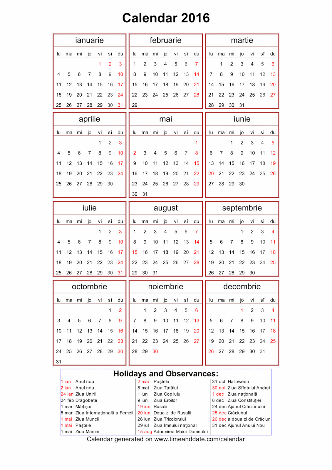 Calendar 2016 In Limba Romana | Calendar Template 2016