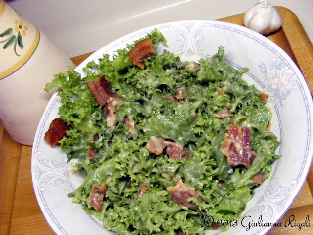 Organic Curly Endive Salad with Bacon and Garlic Dressing