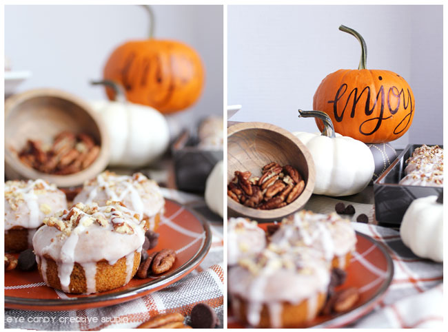 enjoy, pumpkin spice glaze for donuts, donut recipe, pecans, plaid