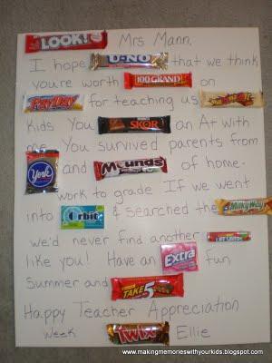 Candy Bar Teacher Appreciation Gifts