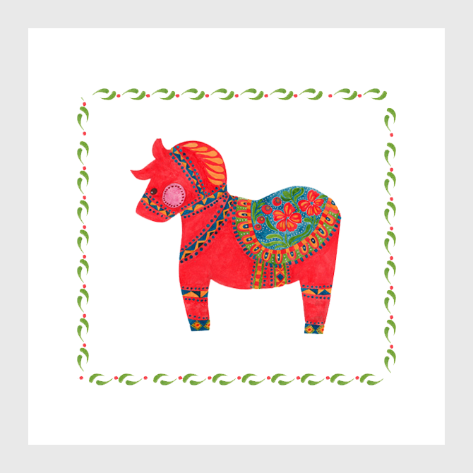 The Red Dala Horse Illustration by Haidi Shabrina
