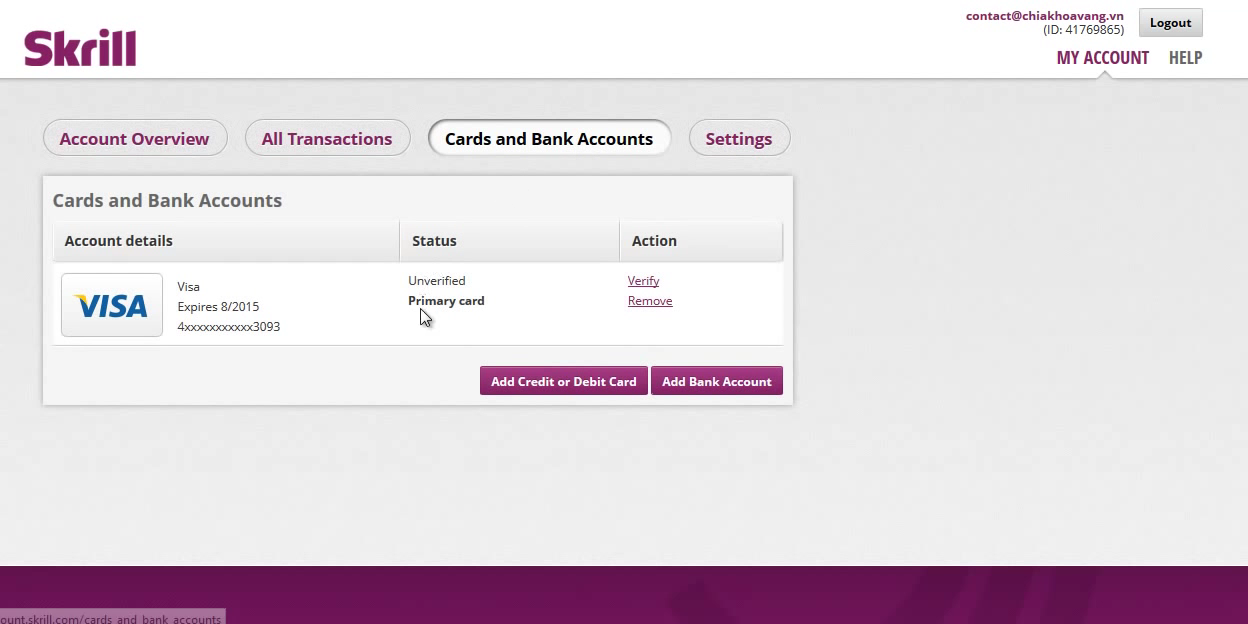 Skrill Account Cards and Bank Screen