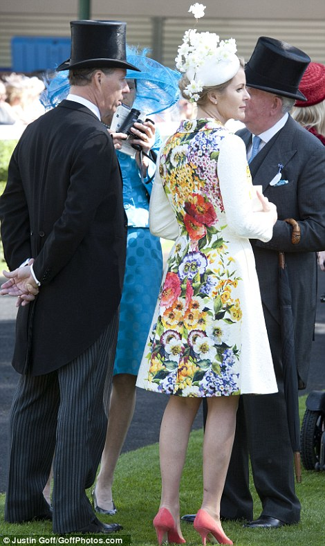 Viscountess Linley in a beautiful floral print coat at Royal Ascot 2014
