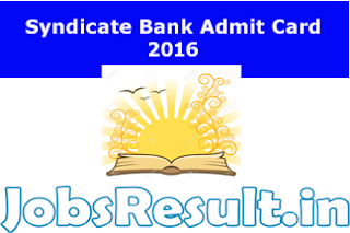 Syndicate Bank Admit Card 2016