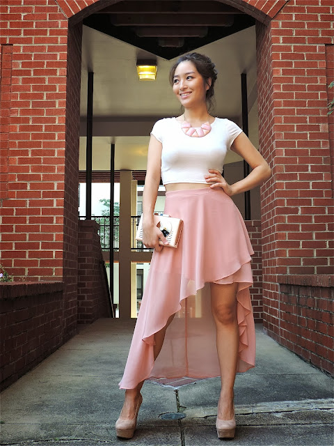 cute blush hi low skirts