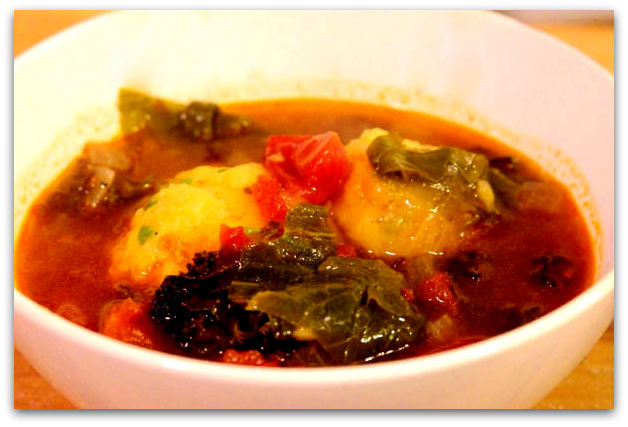 ... In The Belly: Greens and Veggie Sausage Soup with Cornmeal Dumplings