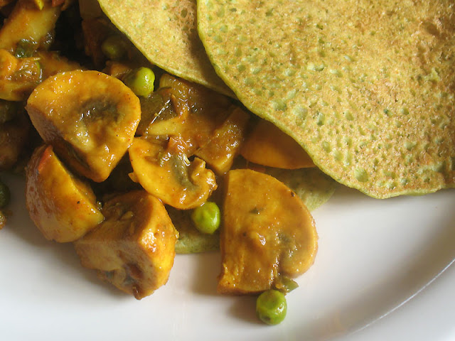 millet crepes stuffed with mushrooms