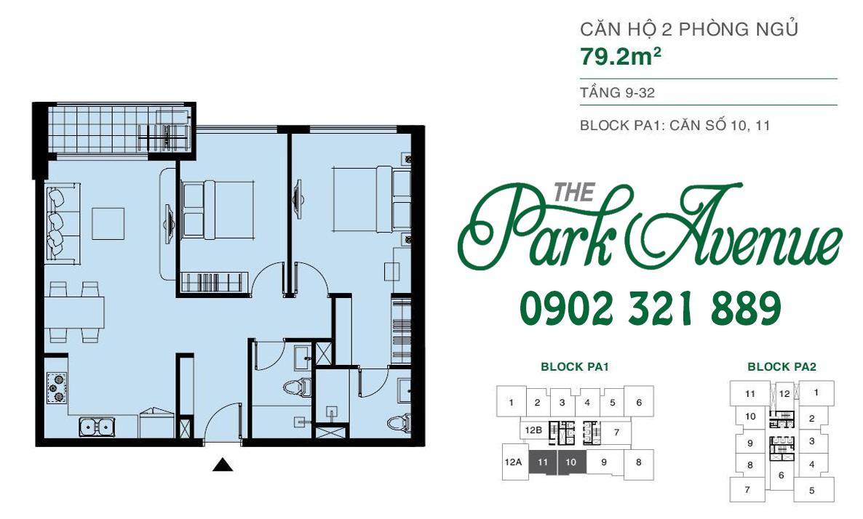 THE PARK AVENUE: Mặt bằng căn hộ 2 PN - 79.2m²