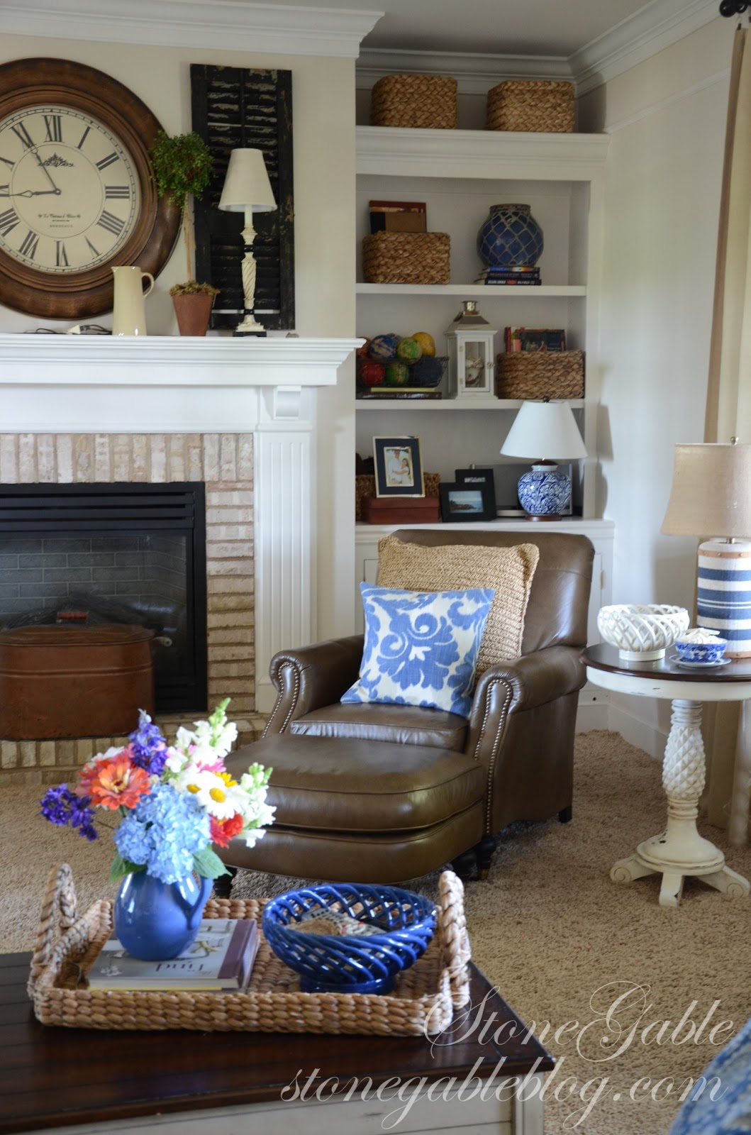 Wonderful image of Decorating the thin bookshelves that flank the fireplace has always  with #2D659E color and 1059x1600 pixels