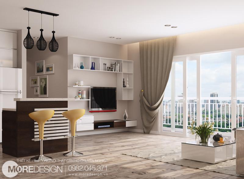 Nội thất phòng khách- Nội thất căn hộ chung cư 64m2 đẹp