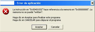 Read  Written memoria no se puede error