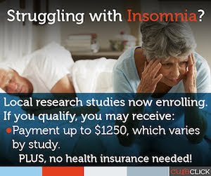 Clinical Trial For Insomnia sponsored by CureClick