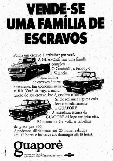 Propaganda da Concessionária Guaporé (Chevrolet) - Família de Escravos - 1970.