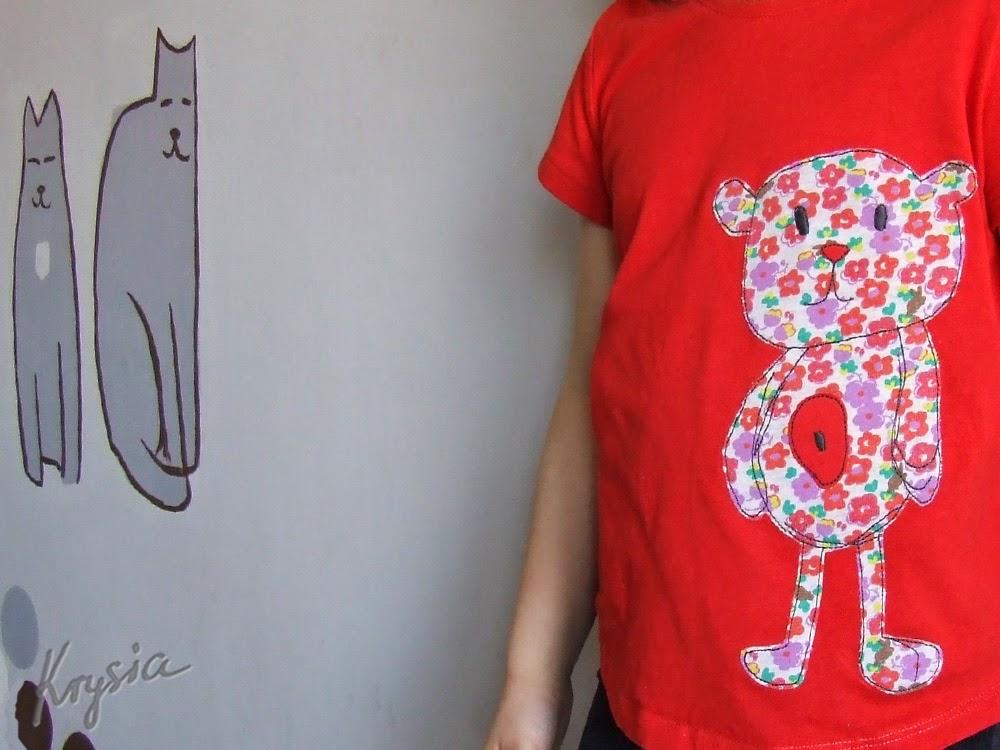 koszulka z misiem aplikacja handmade