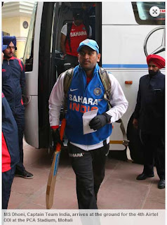 MS+Dhoni,+Captain+Team+India,+arrives+at+the+ground+for+the+4th+Airtel+ODI+at+the+PCA+Stadium,+Mohali