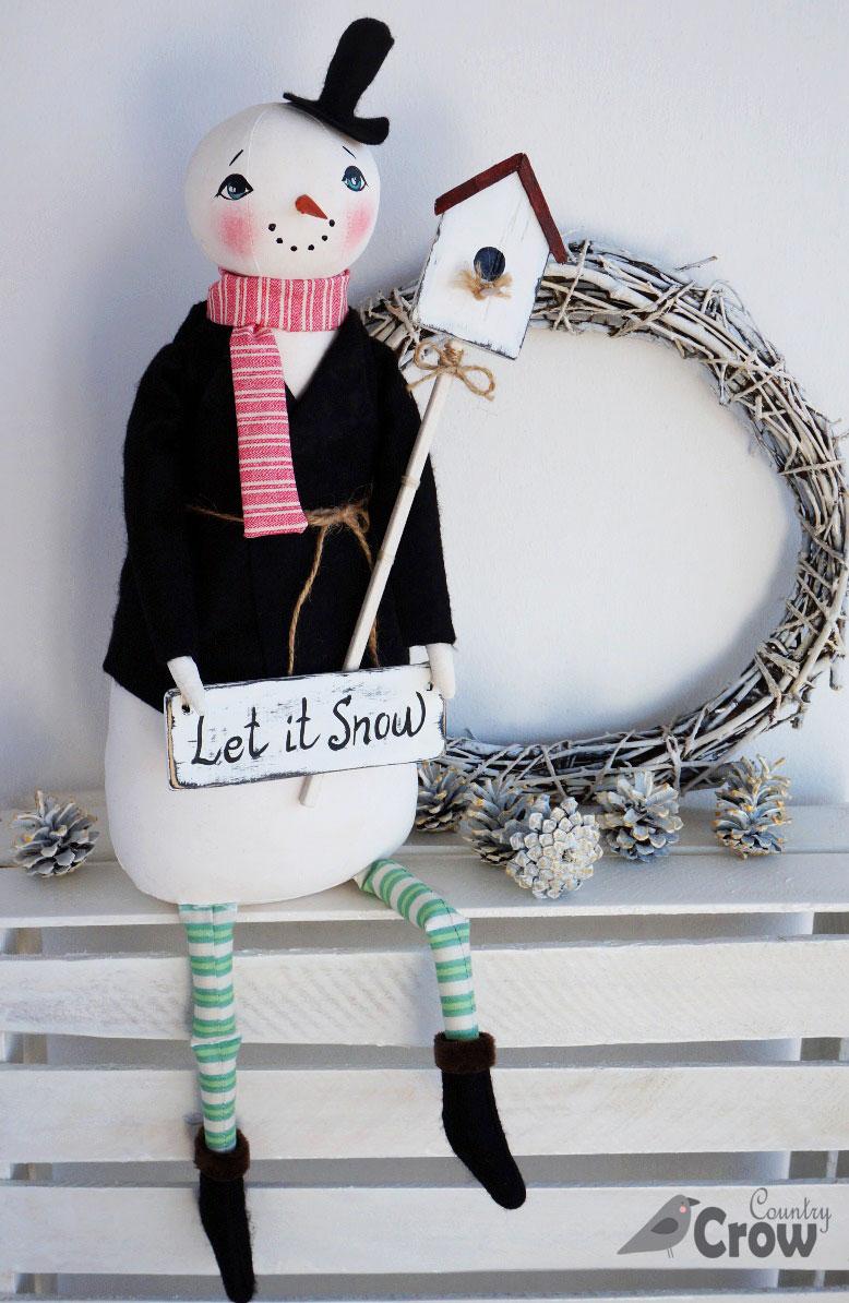 текстильная кукла снеговик