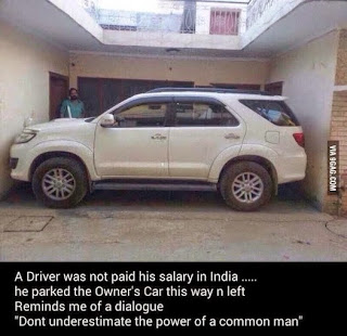 Amazingly parked car by an Indian driver