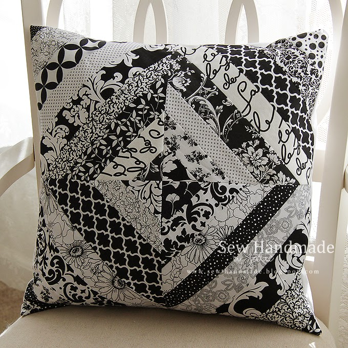 b&w quilted pillow