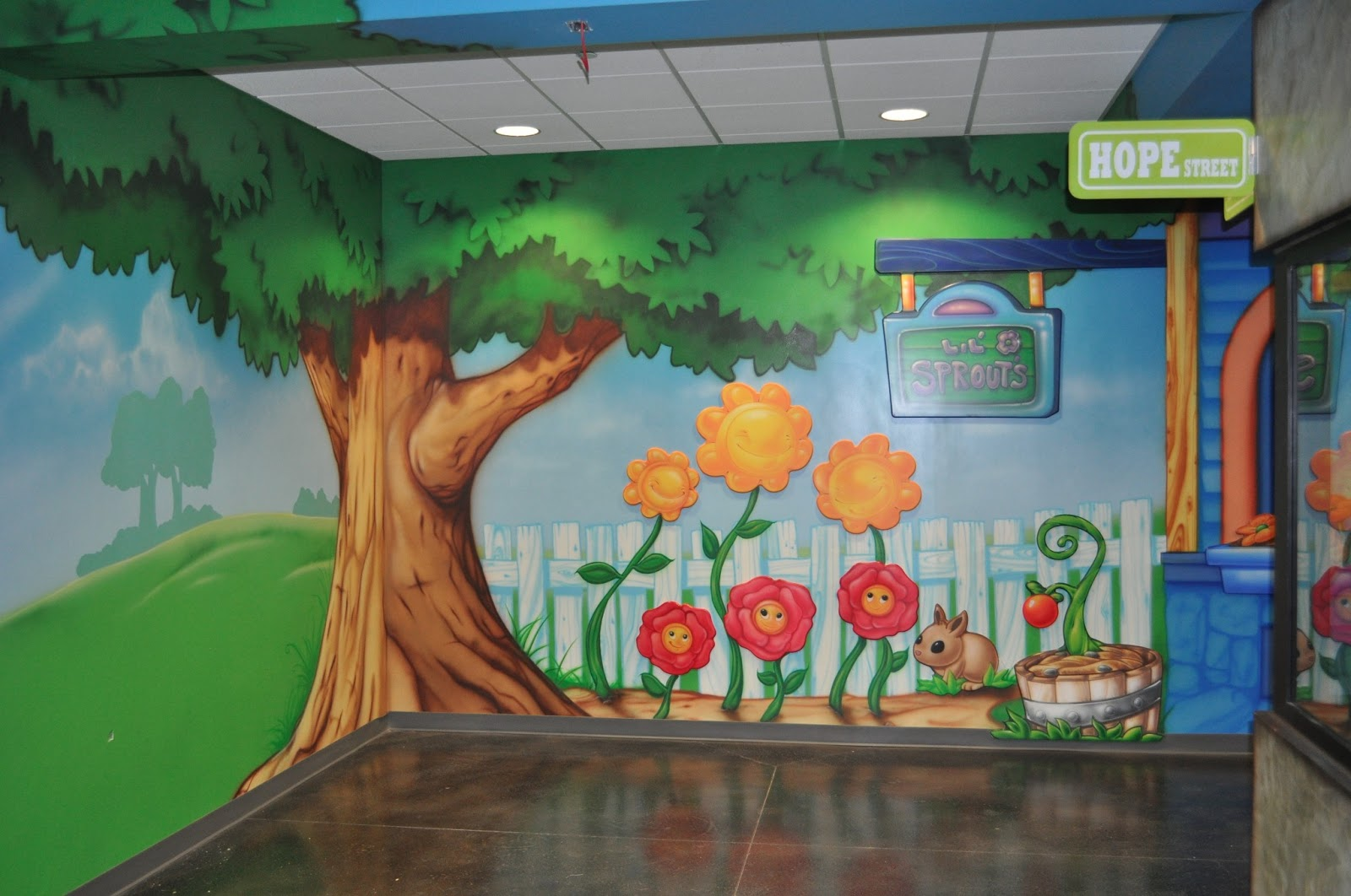 Kids ministry theme indoor playground worlds of wow blog for Church mural ideas