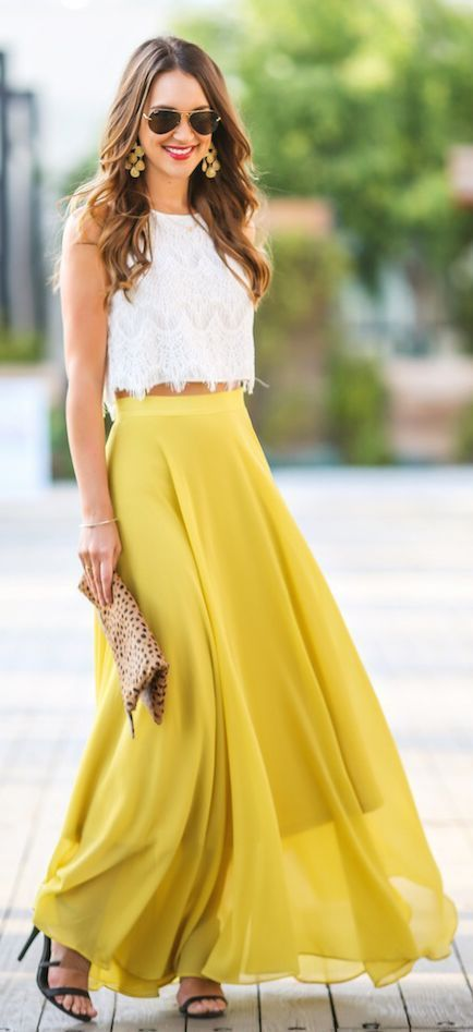 Perfect maxi skirt and White Top Look - Summer Sunny Days Collection