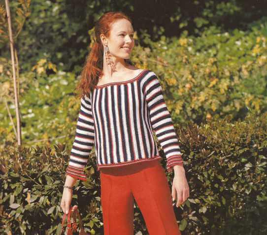 Jersey o Blusa Rayada a Crochet
