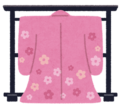 衣桁に掛けられた着物のイラスト