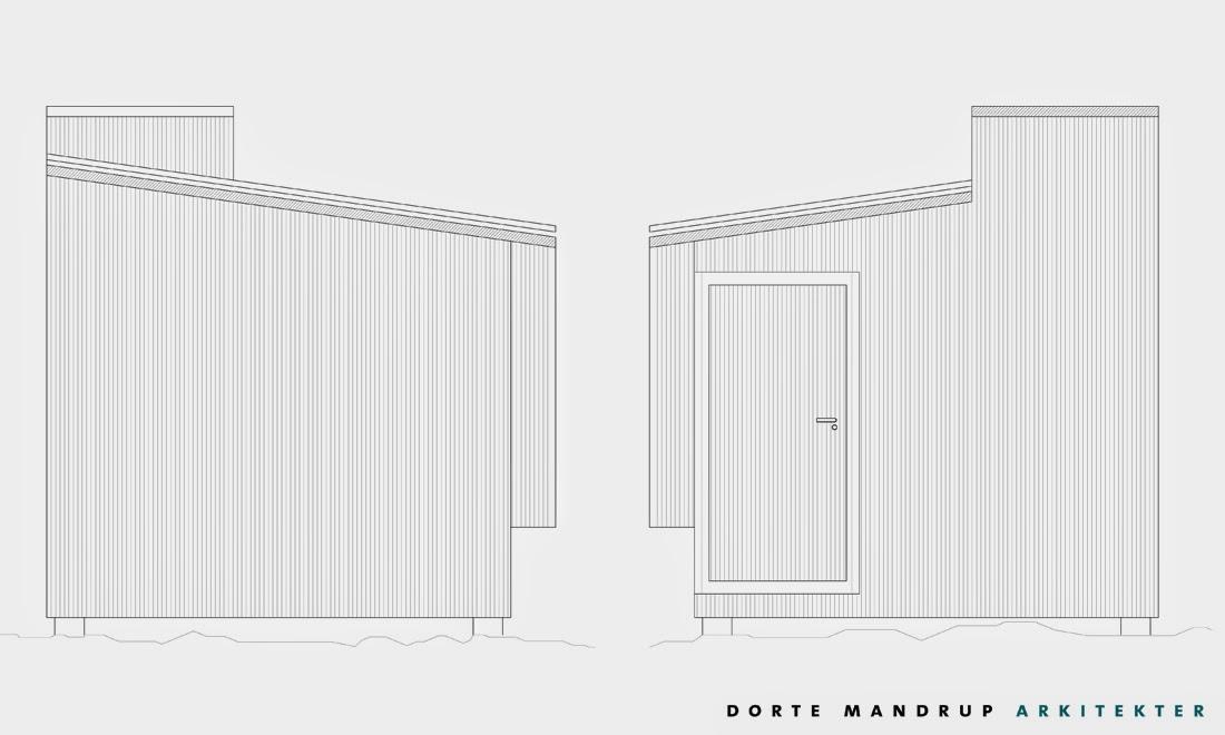 Dos planos de alzadas laterales de cabina de madera