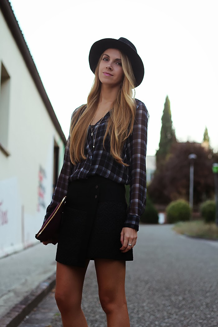 fall, autumn, studded hat, tartan shirt, wrap skirt