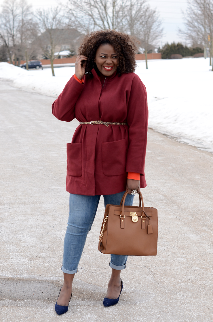 Trendy Plus Size Fashion outfit inspiration Oversized Belted Coat #burgundy