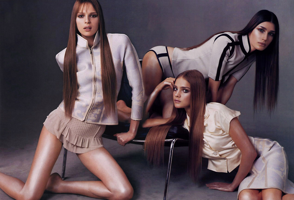 Elize Crombes, Eugenia Volodina and Natalia Vodianova wearing Louis Vuitton Spring/Summer 2003 photographed by Steven Meisel for Vogue US March 2003 via fashioned by love british fashion blog