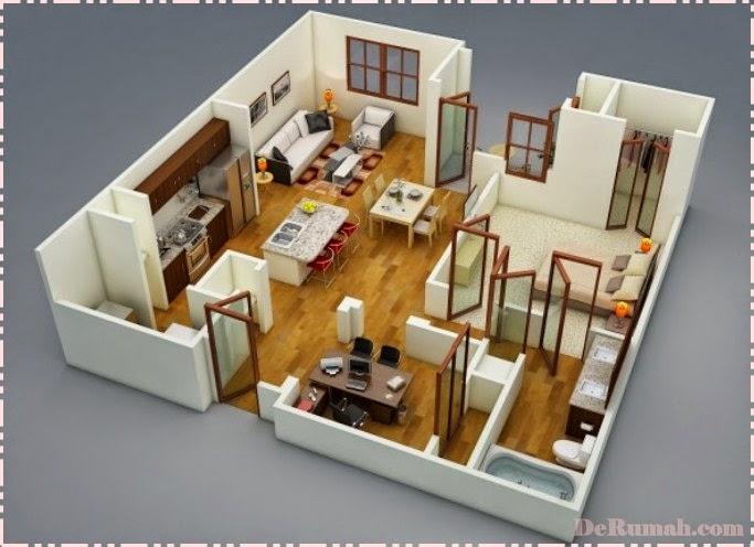 desain rumah minimalis 1 lantai 2 kamar tidur gambar