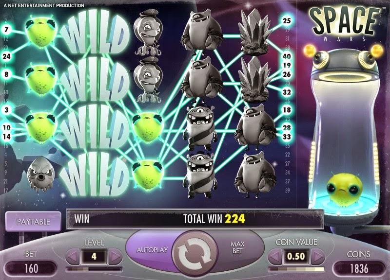 Space Wars Video Slot Screen