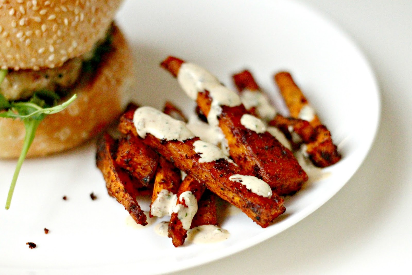 Milk and Honey: Baked Sweet Potato Fries with Chipotle Ranch Dressing