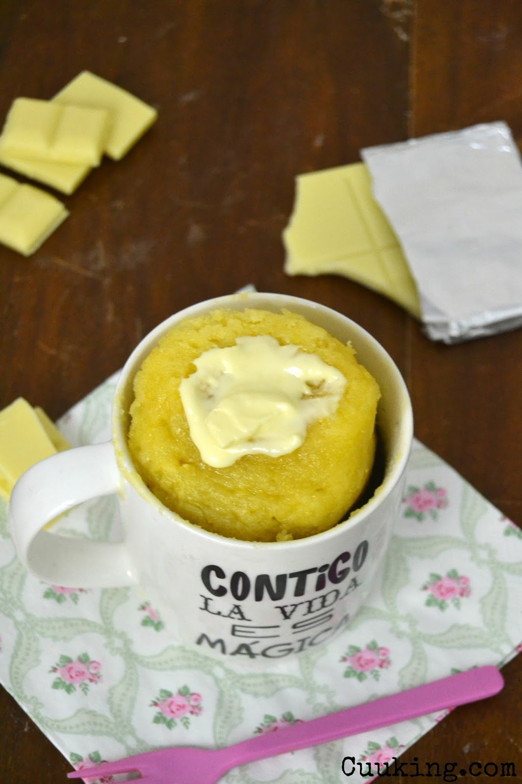cuuking  receta mug cake de chocolate blanco. Videoreceta