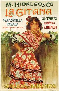 Cartel publicitario de manzanilla La Gitana