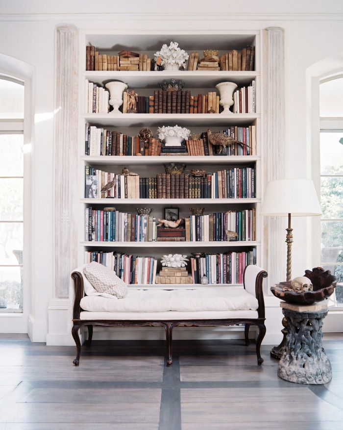 Scandinavian White Bookcase with White Chaise and Big Windows - Interior Design and Home Decor