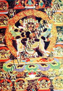 Vajrakila (rDo rje phur bu) with his Sakti (Plate III)  Colour: Black  Technique: Gouache Date: Early 17th century A.D.  Accession No.: 645  Size: 129 cm x 69 cm (with border)  75 cm x 53 cm (painted portion)